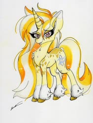 Size: 2447x3229   Tagged: safe, artist:luxiwind, oc, oc:mist dust, pony, unicorn, female, high res, mare, solo, traditional art