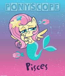 Size: 820x960 | Tagged: safe, fluttershy, fish, merpony, my little pony: pony life, astrology, facebook, female, hair ornament, lidded eyes, looking at you, official, pisces, smiling, solo, spread wings, three quarter view, wings, zodiac