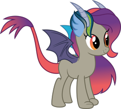 Size: 5847x5233 | Tagged: safe, artist:digimonlover101, oc, oc:harmony, draconequus, absurd resolution, cute, draconequus oc, female, gradient eyes, gradient mane, gradient tail, horns, offspring, parent:cosmos, parent:discord, parents:coscord, simple background, smiling, solo, spread wings, transparent background, vector, wings