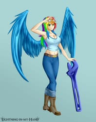 Size: 1280x1628 | Tagged: safe, artist:lightning-in-my-hand, rainbow dash, human, armpits, breasts, busty rainbow dash, clothes, goggles, humanized, looking at you, midriff, sexy, simple background, smiling, spread wings, stupid sexy rainbow dash, winged humanization, wings, wrench