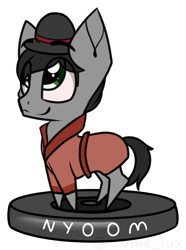 Size: 1466x1973 | Tagged: safe, artist:lux-arume, oc, oc:hatter, earth pony, pony, bowler hat, chibi, clothes, cute, eye clipping through hair, floating eyebrows, hat, looking up, male, nyoom, robe, roomba, simple background, smiling, stallion, transparent background