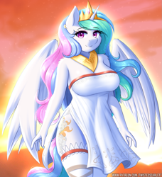 Size: 1459x1600 | Tagged: safe, alternate version, artist:twistedscarlett60, princess celestia, alicorn, anthro, beautisexy, breasts, busty princess celestia, clothes, crown, dress, eyebrows, eyebrows visible through hair, eyeshadow, female, jewelry, lingerie, looking at you, makeup, mare, pink eyeshadow, regalia, sexy, side slit, smiling, smiling at you, solo, stupid sexy celestia, sunrise