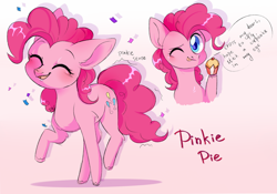 Size: 1280x895 | Tagged: safe, artist:pledus, part of a set, pinkie pie, earth pony, pony, :p, blushing, bust, colored pupils, confetti, cupcake, cute, diapinkes, ear fluff, eyes closed, female, food, leg fluff, looking at you, mare, one eye closed, open mouth, pinkie promise, pinkie sense, portrait, smiling, solo, tongue out, twitchy tail, wink