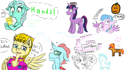 Size: 1920x1080 | Tagged: safe, artist:flynnmlp, artist:shinycyan, lyra heartstrings, ocellus, princess skystar, silverstream, twilight sparkle, changedling, changeling, hippogriff, pegasus, my little pony: the movie, aggie.io, book, collaboration, doodle, giorno giovanna, hand, jojo's bizarre adventure, pumpkin, stairs, train