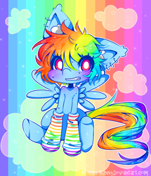 Size: 800x929 | Tagged: safe, artist:nerbyy, rainbow dash, pegasus, pony, blushing, clothes, cloud, female, looking at you, mare, on a cloud, rainbow socks, sitting, socks, solo, spread wings, striped socks, wings