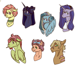 Size: 2640x2333 | Tagged: safe, artist:kiwigoat-art, derpibooru exclusive, oc, oc only, alicorn, earth pony, pegasus, pony, unicorn, bust, choker, female, headband, magical lesbian spawn, male, mare, next generation, no pupils, offspring, parent:applejack, parent:bulk biceps, parent:cheese sandwich, parent:dumbbell, parent:fluttershy, parent:pinkie pie, parent:princess luna, parent:rainbow dash, parent:rarity, parent:soarin', parent:starlight glimmer, parent:tree hugger, parent:twilight sparkle, parent:zephyr breeze, parents:cheesepie, parents:dumbdash, parents:flutterbulk, parents:rarilight, parents:soarinjack, parents:starluna, parents:zephyrhugger, simple background, solo, spiked choker, stallion, transparent background