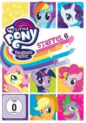 Size: 846x1200 | Tagged: safe, applejack, fluttershy, pinkie pie, rainbow dash, rarity, spike, twilight sparkle, alicorn, dragon, earth pony, pegasus, pony, unicorn, season 6, applejack's hat, cowboy hat, cute, dvd, dvd cover, female, freckles, german, hat, looking at you, male, mane seven, mane six, smiling, smiling at you, spread wings, wings