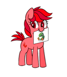 Size: 713x809 | Tagged: safe, artist:handgunboi, earth pony, pony, yoshi, drawing, fat yoshi, female, mare, paper, png, red eyes, simple background, solo, transparent background