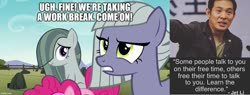Size: 1309x500 | Tagged: safe, edit, edited screencap, screencap, limestone pie, marble pie, pinkie pie, earth pony, human, pony, the maud couple, caption, image macro, irl, irl human, jet li, photo, quote, text