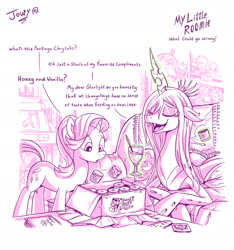 Size: 2062x2205 | Tagged: safe, artist:jowybean, queen chrysalis, starlight glimmer, changeling, changeling queen, pony, unicorn, series:my little roomie, changeling feeding, dialogue, digital art, eyes closed, female, mare, smiling, sweet hearts emporium