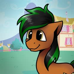 Size: 2000x2000 | Tagged: safe, artist:jellyys, oc, oc only, oc:patutu, earth pony, pony, building, commission, cute, daaaaaaaaaaaw, earth pony oc, hill, house, male, ocbetes, ponyville, smiley face, smiling, solo, stallion, town
