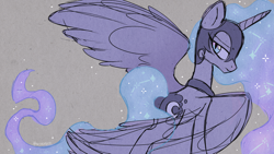 Size: 1280x720 | Tagged: safe, artist:hawthornss, nightmare moon, alicorn, pony, female, gray background, helmet, looking back, mare, simple background, sketch, solo, spread wings, wings