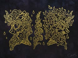 Size: 4000x3000 | Tagged: safe, artist:selenophile, rain shine, kirin, nirik, design, flower, foal's breath, rain