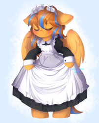 Size: 2338x2887 | Tagged: safe, artist:adostume, oc, oc:cold front, pegasus, semi-anthro, apron, blushing, clothes, commission, crossdressing, curtsey, cute, dress, eyes closed, maid, maid headdress, male, pegasus oc, solo, standing, watermark, wings, ych result