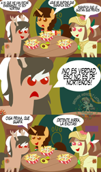 Size: 1280x2160 | Tagged: safe, artist:archooves, oc, oc:sonorita, oc:tailcoatl, pegasus, pony, unicorn, aztec, chips, dialogue, food, hat, helmet, meme, mexican, nachos, pointy ponies, spanish