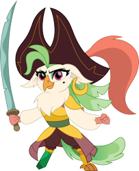 Size: 1218x1500 | Tagged: safe, artist:cloudyglow, captain celaeno, bird, parrot, parrot pirates, anthro, digitigrade anthro, my little pony: the movie, amputee, badass, celaenobetes, chibi, cute, ear piercing, earring, female, hat, jewelry, piercing, pirate, pirate hat, prosthetic limb, prosthetics, simple background, solo, sword, transparent background, weapon