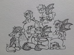 Size: 2576x1932   Tagged: safe, artist:drheartdoodles, oc, oc only, oc:bramble, oc:coffee, oc:crumble, oc:dr.heart, oc:quantum melody, bat pony, clydesdale, blushing, eeee, group photo, kiss on the cheek, kissing, size difference, traditional art