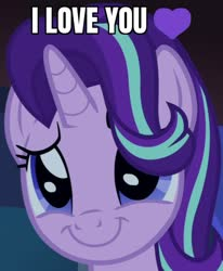 Size: 522x632 | Tagged: safe, edit, edited screencap, screencap, starlight glimmer, pony, unicorn, uncommon bond, bronybait, caption, confession, cropped, cute, daaaaaaaaaaaw, female, glimmerbetes, hair flip, heart, hnnng, i love you, image macro, mare, meme, smiling, solo, text