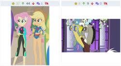 Size: 612x332 | Tagged: safe, applejack, discord, fluttershy, derpibooru, blue crushed, equestria girls, equestria girls series, the summer sun setback, binoculars, clothes, juxtaposition, juxtaposition win, legs, meme, meta, swimsuit