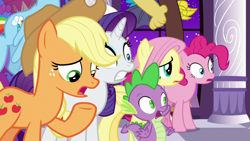 Size: 1920x1080 | Tagged: safe, screencap, applejack, discord, fluttershy, pinkie pie, rainbow dash, rarity, spike, draconequus, dragon, earth pony, pegasus, unicorn, the summer sun setback, spoiler:s09e17, applejack's hat, bags under eyes, canterlot, canterlot castle, cowboy hat, female, flying, folded wings, freckles, hat, looking at something, male, night, offscreen character, open mouth, raised hoof, shocked, side view, spread wings, underhoof, winged spike, wings