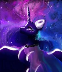 Size: 1300x1500 | Tagged: safe, artist:livitoza, princess luna, alicorn, digital art, space, traditional art