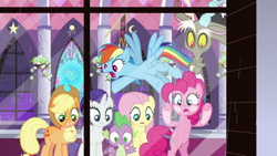 Size: 1920x1080 | Tagged: safe, screencap, applejack, discord, fluttershy, pinkie pie, rainbow dash, rarity, spike, dragon, the summer sun setback, rain, window, winged spike