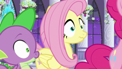 Size: 1920x1080 | Tagged: safe, screencap, fluttershy, pinkie pie, spike, dragon, earth pony, pegasus, pony, the summer sun setback, spoiler:s09e17, bipedal, canterlot, canterlot castle, female, folded wings, looking at something, male, night, offscreen character, side view, wavy mouth, winged spike, wings