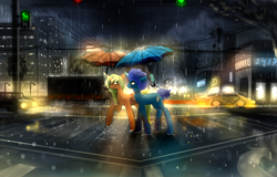 Size: 2500x1600 | Tagged: safe, artist:ssnerdy, oc, oc only, pony, unicorn, car, city, duo, raffle winner, rain, scenery, umbrella