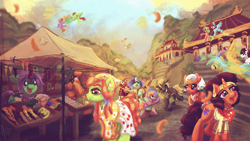 Size: 2000x1125 | Tagged: safe, artist:amura-of-jupiter, gilda, powder, saffron masala, scootaloo, somnambula, sunshower raindrops, tree hugger, oc, earth pony, griffon, kirin, pegasus, pony, unicorn, album cover, bandana, bribing, building, canopy, churchkhela, clothes, color powder, confetti, cutie mark, dancing, depth of field, dress, ear piercing, earring, feather, female, fence, festival, filly, flying, food, generic pony, jewelry, lots of characters, male, market, marketplace, mountain, necklace, outdoors, pagoda, piercing, pointing, romani, scenery, scootaloo can fly, shirt, signature, skirt, sky, smiling, stairs, wallpaper