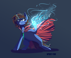 Size: 2100x1700 | Tagged: safe, artist:spirit fire, oc, oc only, oc:bizarre song, pegasus, pony, blue fire, broken horn, cape, clothes, colored, gift art, glowing hooves, grin, horn, jewelry, male, menacing, necklace, pegasus oc, simple background, smiling, solo, stallion, wings