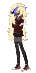 Size: 2472x4952   Tagged: safe, artist:alphajunko, oc, oc only, oc:black decay, demon, undead, zombie, equestria girls, black sclera, bone, clothes, colored sclera, converse, equestria girls-ified, female, hoodie, horns, shoes, simple background, skeleton, skirt, socks, solo, stockings, thigh highs, torn clothes, transparent background