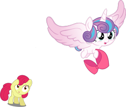 Size: 1733x1468 | Tagged: safe, artist:djdavid98 edits, artist:dragonm97hd, artist:estories, edit, edited edit, editor:slayerbvc, vector edit, apple bloom, princess flurry heart, alicorn, earth pony, pony, accessory theft, accessory-less edit, apple bloom's bow, baby, baby pony, bow, diaperless edit, female, filly, flying, foal, hair bow, missing accessory, simple background, surprised, transparent background, vector
