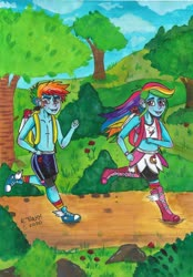 Size: 1280x1837 | Tagged: safe, artist:casualneonglitter, rainbow dash, human, equestria girls, backpack, bandeau, bike shorts, boots, boxing boots, boxing bra, boxing robe, boxing shoes, boxing shorts, boxing skirt, boxing trunks, clothes, compression shorts, converse, cute, cycling shorts, dashabetes, dirt road, equestria guys, exeron fighters, exeron gloves, exeron outfit, female, fingerless gloves, flower, gloves, jogging, male, martial arts kids, martial arts kids outfits, midriff, mma gloves, park, rainbow blitz, rose, rule 63, shoelaces, shoes, shorts, shorts under skirt, skirt, sneakers, socks, sports bra, sports shorts, sports skirt, strapless bra, teenager, tomboy, trail, tree, tree stump, trunks, watch, wristwatch