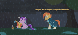 Size: 4000x1800 | Tagged: safe, artist:gd_inuk, starlight glimmer, sunburst, pony, unicorn, blank eyes, clothes, concerned, crying, dialogue, empty eyes, eyes closed, glasses, glue, horn, horn impalement, kite, lineless, no mouth, no pupils, puddle, rain, robe, sitting, sunburst's glasses, sunburst's robe, wet, wet mane, wet tail