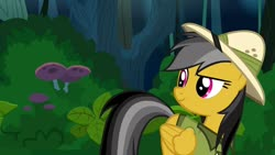 Size: 1280x720   Tagged: safe, screencap, daring do, pegasus, pony, stranger than fan fiction, bush, clothes, dreamworks face, female, flying, folded wings, grin, hat, jungle, leaves, looking at something, mushroom, plant, smiling, solo, tree, wings