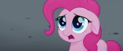 Size: 1920x804 | Tagged: safe, screencap, pinkie pie, earth pony, pony, my little pony: the movie, about to cry, basalt beach, big eyes, cute, dark background, female, floppy ears, friendship isn't magic, frown, heartbreak, looking up, mare, not cool, not friends anymore, offended, ouch, poor pinkie pie, reality, sad, shocked, solo, speechless, surprised, wet mane