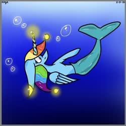 Size: 828x827   Tagged: safe, artist:kittycatrittycat, rainbow dash, alicorn, merpony, pony, 2020, alicornified, bubble, female, glow, glowing horn, horn, race swap, rainbowcorn, redraw, solo, species swap, underwater
