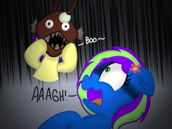 Size: 1024x768 | Tagged: safe, artist:swivel starsong, artist:xxxdavid09xxx, part of a set, oc, oc only, oc:artsy scribble, oc:blazey, oc:novastar blaze, angler fish, fish, pegasus, boo, collaboration, female, filly, flower, flower in hair, foal, mare, mask, part of a series, pegasus oc, scared, scary, shocked, shocked expression, shocked face, text, the angler fish prank, vignette, wings