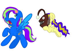 Size: 1024x768 | Tagged: safe, artist:swivel starsong, artist:xxxdavid09xxx, part of a set, oc, oc only, oc:artsy scribble, oc:blazey, oc:novastar blaze, angler fish, fish, pegasus, collaboration, female, filly, flower, flower in hair, flying, foal, looking back, mare, mask, part of a series, pegasus oc, running, scared, shocked, shocked expression, shocked face, simple background, spread wings, the angler fish prank, wings