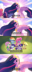 Size: 2048x4604 | Tagged: safe, applejack, fluttershy, pinkie pie, rainbow dash, rarity, spike, twilight sparkle, alicorn, dragon, earth pony, pegasus, pony, unicorn, my little pony: pony life, spoiler:s09e26, /mlp/, 4chan, applejack's hat, cloud, comic, cowboy hat, crown, drawthread, female, grin, hat, jewelry, lidded eyes, looking at you, male, mane six, mare, meme, one eye closed, open mouth, parody, ponified meme, princess twilight 2.0, regalia, shy, sky, smiling, smiling at you, sunset, teen titans go, text, thundercats roar, twilight sparkle (alicorn), wink, winking at you