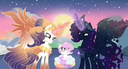Size: 1024x552 | Tagged: safe, artist:velveagicsentryyt, princess celestia, oc, oc:cosmos, oc:galaxia, oc:king cosmos, oc:queen galaxia, alicorn, pony, 's parents, base used, bipedal, celestia and luna's father, celestia and luna's mother, cewestia, chestplate, colored hooves, colored wings, crown, deviantart watermark, ethereal mane, ethereal tail, father and child, father and daughter, female, filly, filly celestia, flowing mane, flowing tail, foal, glowing horn, husband and wife, jewelry, lidded eyes, like father like daughter, like mother like daughter, like parent like child, magic, male, mare, mother and child, mother and daughter, mother and father, multicolored tail, multicolored wings, obtrusive watermark, parent and child, pillow, pink-mane celestia, previous generation, regalia, stallion, standing on one leg, starry mane, starry tail, sun, wall of tags, watermark, wings, young, younger