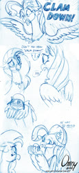 Size: 620x1350   Tagged: safe, artist:omny87, princess skystar, shelldon, silverstream, classical hippogriff, hippogriff, my little pony: the movie, clam, comic, cousins, dialogue, duo, helmet, monochrome, pun, simple background, sketch, spread wings, white background, wings, x eyes