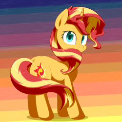 Size: 2977x2976 | Tagged: safe, artist:yinglongfujun, sunset shimmer, pony, unicorn, cute, eye clipping through hair, female, high res, looking at you, looking back, mare, shimmerbetes, solo