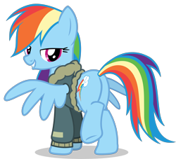 Size: 5500x5000 | Tagged: safe, rainbow dash, pegasus, pony, absurd resolution, bomber jacket, butt, clothes, jacket, lidded eyes, lip bite, looking back, plot, rainbutt dash, raised hoof, simple background, solo, stupid sexy rainbow dash, transparent background, vector