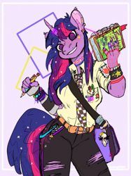 Size: 770x1030 | Tagged: safe, artist:teacorgi, twilight sparkle, anthro, unicorn, '90s, choker, clothes, notebook, pen, satchel, smiling, solo, torn clothes