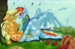 Size: 1920x1248 | Tagged: safe, artist:redheartponiesfan, applejack, rainbow dash, earth pony, pegasus, pony, apple, appledash, blushing, boop, dappled sunlight, deviantart watermark, eye contact, female, food, grass, lesbian, looking at each other, noseboop, obtrusive watermark, shipping, watermark