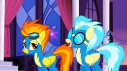 Size: 1280x720 | Tagged: safe, screencap, misty fly, spitfire, pegasus, rarity investigates, clothes, female, flying, folded wings, goggles, uniform, wings, wonderbolts, wonderbolts uniform