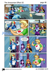 Size: 2726x3802 | Tagged: safe, artist:atariboy2600, artist:bluecarnationstudios, applejack, rainbow dash, sunset shimmer, twilight sparkle, human, comic:the amazonian effect, comic:the amazonian effect iii, equestria girls, a horse with no name, america (band), applejacked, breasts, busty applejack, busty rainbow dash, flexing, helmet, honk, implied lesbian, implied rarijack, implied shipping, motorcycle, muscles, overdeveloped muscles, rainbuff dash, song reference, sunglasses, sunset gamer, truck, video game, wat