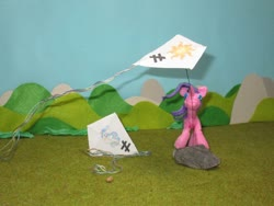 Size: 1024x768 | Tagged: safe, alternate version, artist:malte279, princess celestia, starlight glimmer, craft, inequality sign, kite, kite flying, kites, sculpture, starch foam
