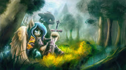 Size: 1920x1079 | Tagged: safe, artist:stdeadra, oc, dragon, pegasus, pony, armor, forest, grass, scenery, solo, sword, tree, weapon, wings